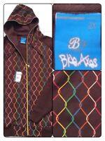 Blue Axes Mens 2X Sweatshirt Hoodie Jacket Chainlink Hip Hop Streetwear XXL~ NWT
