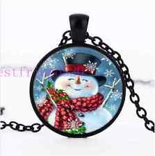 Cute Snowman Photo Cabochon Glass Black Chain Pendant Necklace