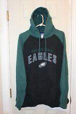 black / green Philadelphia Eagles stitched Reebok hoodie / hooded sweatshirt - L