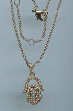 LOVELY YELLOW GOLD PLATED, SAPPHIRE & CZ EVIL EYE & HAMSA NECKLACE