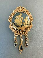 Vintage Florenza Signed Victorian brooch Gold painted on Onyx J
