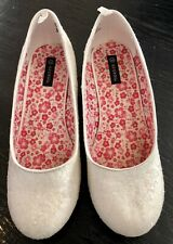 White Dressy Snowflake Crystal Shoes 2 Inch Heel Youth Sz 3 Girl Frozen