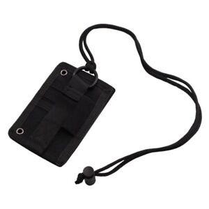 ID Card Holder Tactical Durable 500D Nylon Badge Holder Lanyard RFID
