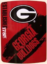 "Blanket Fleece Throw NCAA Georgia Bulldogs NEW 50""x60"" with protective sleeve"