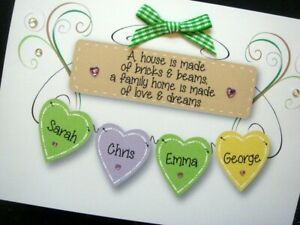 Handmade Personalised 'Family Home Hearts' New Home card (UP TO 6 NAMES)