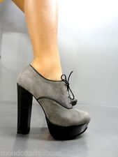 MORI ITALY SEXY HIGH HEELS ANKLE SHOES BOOT STIEFEL PUMPS LEATHER GREY GRIGIO 36