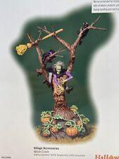 Dept 56 Halloween Witch Crash Tree w/ Face Pumpkins Cat Lighted 56. 53056 New