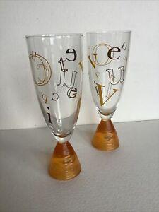 VEUVE CLICQUOT Alphabet Collection Champagne Flute Glasses - Set of 2