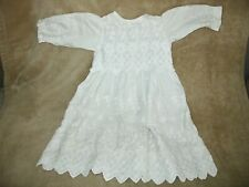 Antique White Children's or large Baby Doll Toddler Dress circa 1900, pretty
