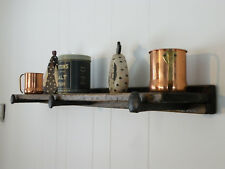 Country Rustic Wood Floating Shelf Distressed Pine w/ Reclaimed Railroad Spike