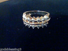 14K GOLD & SS DIAMOND ENGAGEMENT WEDDING BAND RING SZ 5 REG IN STORE FOR GIFT!