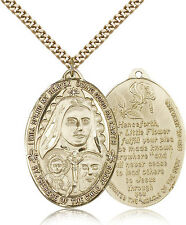 Saint Therese Of The Child Of Jesus Medal For Men - Gold Filled Necklace On 2...