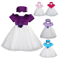 New Baby Christening Party Dress with Hat 0-3 3-6 6-9 9-12 12-18 Months