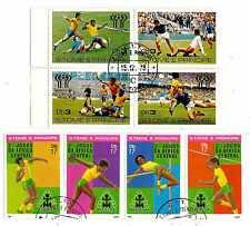 SAO TOME e PRINCIPE 2 Blocs X 4 timbres  oblitérés Athletisme et Football 139T5