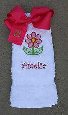 Personalized Embroidered Spring Flower White Hand Towel Matching Hot Pink Bow