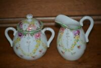 ANTIQUE CREAM & SUGAR SET GREEN ACCENTS PINK ROSES YELLOW FLOWERS
