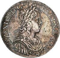 Louis XIV Ecu à la mèche longue 1653 X Amiens Splendide exemplaire rare état