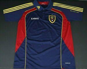 Adidas Soccer Polo Jersey Real Salt Lake Xango Men's Large Navy Yellow Red NWOT