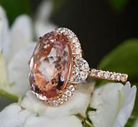 3.50Ct Oval Cut Morganite Diamond Halo Engagement Ring 14K Rose Gold Finish