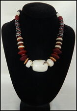 Handmade Trade Bead Necklace w Conch Shell Beads