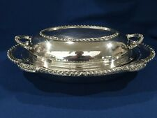 VTG English Silver MFG Corp Scalloped Edge Covered Serving Dish-Plated 1950s