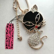 Betsey Johnson fashion jewelry Crystal Cat pendant necklace # A476