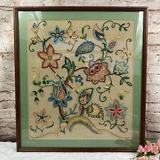 New listing Vintage Framed Hand Embroidered Floral Picture Detailed Silks Thread Sampler