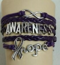 ALZHEIMERS AWARENESS-HOPE,INFINITY,LEATHER ADJUSTABLE BRACELET-PURPLE-#50