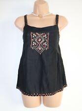 Women's Vintage PROMOD Sleeveles Embroidered Black 100% Cotton Blouse Size XS S