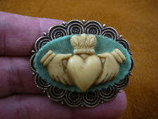(CM38-31) traditional CLADDAGH heart hands blue + ivory CAMEO brass Pin Pendant