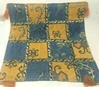 BLUE GOLD ELEGANT WOVEN TAPESTRY THROW PILLOW COVER W TASSELS PRISTINE CONDITION