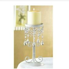6 NEW-WHITE WROUGHT IRON BEADED DROP CHANDELIER CANDLE HOLDER WEDDING EVENT