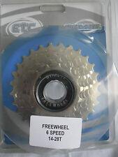 ETC 6 Speed Freewheel 14-28t Nickel Plated Screw on - Road Mountain Bike Bicycle