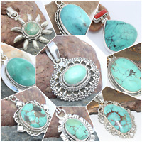 925 SOLID STERLING SILVER HANDMADE JEWELRY PENDANT IN TURQUOISE CHRISTMAS GIFT