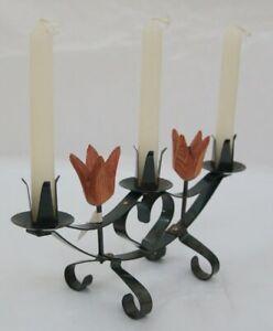 Vintage Candleholder Wood / Wrought Metal Eskilstuna Rademachersmedjorna