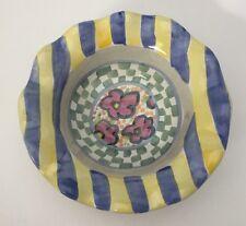1 Mackenzie Childs Myrtle Fluted Berry Dessert Sauce Bowl Stripe Floral Check