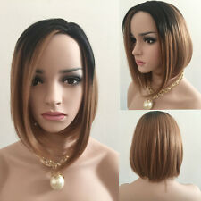Women's Fashion Black Ombre Blonde Straight Short Bob Synthetic Hair Full New
