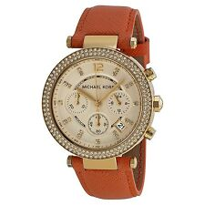 Michael Kors MK2279 Parker Champagne Dial Leather Band Chronograph Women's Watch