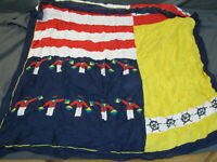 Vintage NAUTICAL SQUARE SCARF Yellow Blue Red FLAGS SHIPS WHEEL Colorblock WOVEN