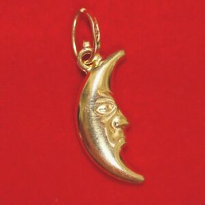 NEW 9ct Yellow Gold Moon Charm 375 Pendant Man in the moon 9K crescent moon 3D