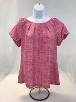 Ann Taylor Women's Pink/Black Short Sleeve Silk Petite Blouse Sz MP