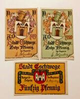 ESCHWEGE NOTGELD 10 PFENNIG 1919, 10, 50 PFENNIG 1920 NOTGELDSCHEINE (11051)