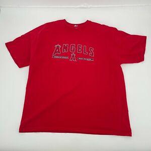 LA Angeles Shirt Mens 2XL Red MLB Baseball Tee Majestic Los Angeles Anaheim Logo