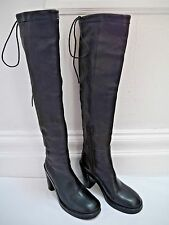 ANN DEMEULEMEESTER black leather knee high boots Italian size 36