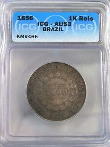 Choice AU 1856 Silver 1000 Reis Brazil ICG AU53.  #54
