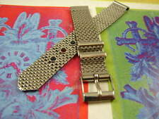 13mm NOS BRITE USA SS CHAIN VINTAGE WATCH BAND MESH BEADS BELT BUCKLE CLASP