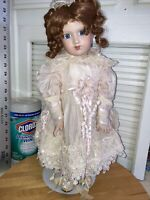 """18"""" 100% Porcelain Girl Doll Pink Dress Victorian With Stand Numbered 164/1000"""
