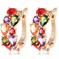 New 18k Rose Gold Filled Czech Crystal Zircon Hoop Elegant Lady Earrings