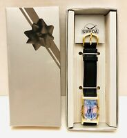 VTG DISNEY CINDERELLA CASTLE BLACK LEATHER SWEDA WATCH LIMITED EDITION 5000 NIB