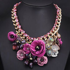 NE_ Women Flower Pendant Rhinestone Statement Bib Collar Necklace Xmas Gift Bl